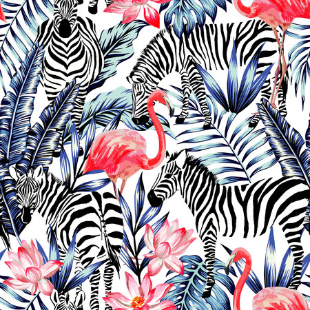 Exotic pink flamingo, zebra on background summer blue tropic palm leaf. Watercolor floral print wallpaper.Stripe fashion nature painting
