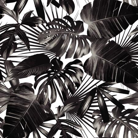 Grafische installatie palmblad trope. Print zwarte en witte achtergrond stijl, exotische bloemen jungle. Trendy naadloos patroon. Fashion vintage summer Hawaiian achtergrond. Stock Illustratie