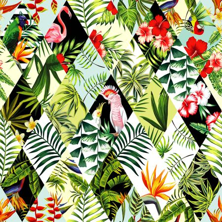 Exotic beach trendy seamless pattern, patchwork illustrated floral tropical banana leaves, hibiscus flower, lilies, plumeria. Jungle parrots and pink flamingos Wallpaper print background mosaic