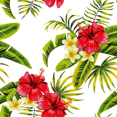 banana leaf: Tropic summer flower hibiscus and orchid Seamless pattern with palm banana leaf and plants. Composition with flower jungle white background. Hand drawn fashion bunch exotic flower wallpaper.