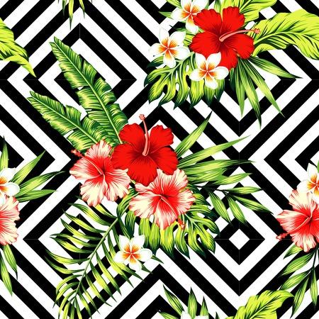 트로픽 페인팅 꽃 벽지입니다. 빨간색과 분홍색 히 비 스커 스, plumeria 및 팜 바나나 잎. 일러스트