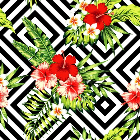 Tropic painting floral wallpaper. Red and pink hibiscus, plumeria and palm banana leaf.