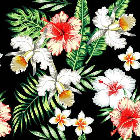 banana leaf: Tropic summer flower hibiscus, lily and orchid Seamless pattern with palm banana leaf and plants. Composition with flower jungle background. Hand drawn fashion bunch exotic flower wallpaper.