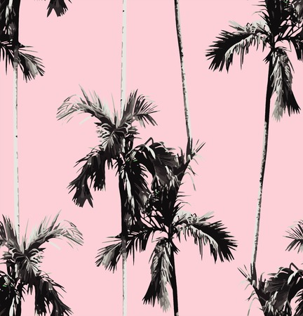 Print summer seamless pattern with tropic banana palm tree. Exotic pink background. trendy black and white floral wallpaper. Illusztráció