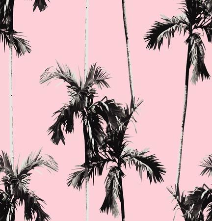 Print zomer naadloos patroon met tropische banaan palmboom. Exotische roze achtergrond. trendy zwarte en witte bloemen behang. Stock Illustratie