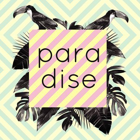 The word paradise framed exotic tropic palm, banana leaves with a black bird toucan. Jungle art print fashion geometric Иллюстрация