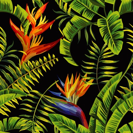 Tropic summer painting seamless pattern with palm banana leaf and plants. Floral background jungle bird of paradise. Trendy bunch exotic flower wallpaper.