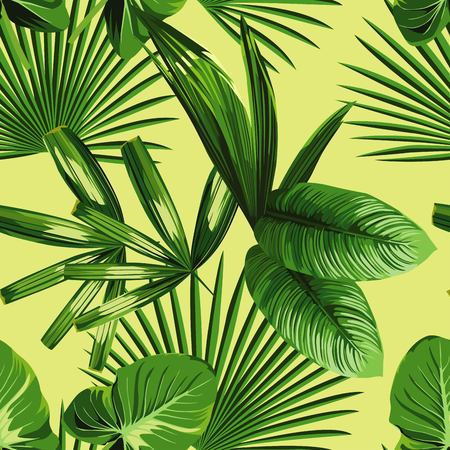 Tropic print summer exotic jungle plant tropical palm leaf and branch. Pattern, seamless floral on yellow green background. Nature flower wallpaper.  イラスト・ベクター素材