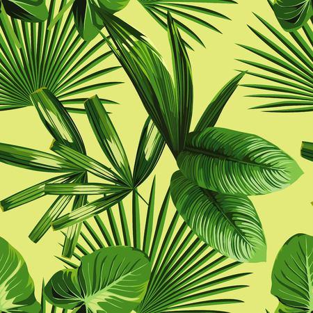 Trópico verano de la impresión de plantas exóticas de la selva tropical de hoja de palma y ramas. Modelo, floral sin fisuras en el fondo verde amarillo. Naturaleza papel tapiz de flores.