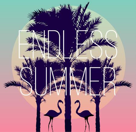 Het silhouet van tropische vogels flamingo's en een banaan palmboom in de achtergrond paradijs zonsondergang vakantie zee strand. Het kunstwerk in de trendy stijl van de spiegel. slogan eindeloze zomer.