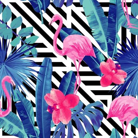 수채화 열대 핑크 플라밍고와 트렌디 한 블루 꽃 식물 정글 팜 바나나 잎 배경 화면 파라다이스 비치 여름 조류 원활한 패턴의 난초. 검은 색과 흰색 기하학적 배경 벡터 (일러스트)