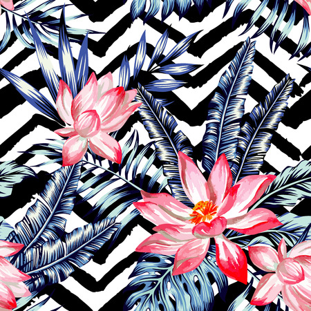 Watercolor flower lotus with of trendy blue floral plant jungle tropic palm tree and banana leaf. Print wallpaper paradise summer hand drawn seamless pattern. Black and white zig zag background