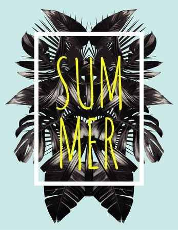Illustration word slogan summer in a square white frame. The trendy tropic style. The art black mirror palm leaf. Print fashion floral background