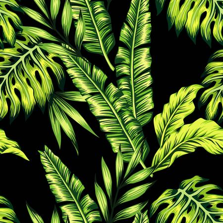 subtropical: Painting tropic summer seamless pattern with palm banana leaf and plants. Floral background jungle. Print trendy bunch exotic flower wallpaper. Illustration