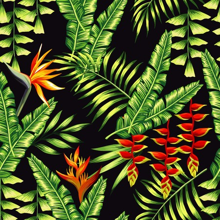 banana leaf: Print exotic tropic plants and palm trees, banana leaf with lobster claws flower, strelitzia on a black background. Seamless wallpaper pattern summer jungle art in trendy style of hand drawing