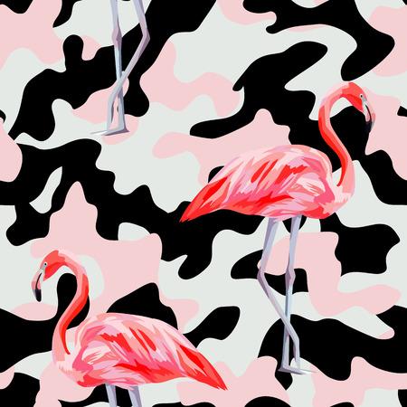 Beautiful pink flamingo print on camo background. Seamless pattern. Decorative trendy nature wallpaper