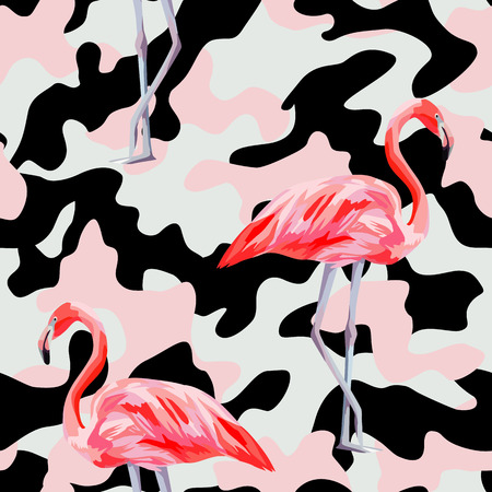 Beautiful pink flamingo print on camo background. Seamless pattern. Decorative trendy nature wallpaper