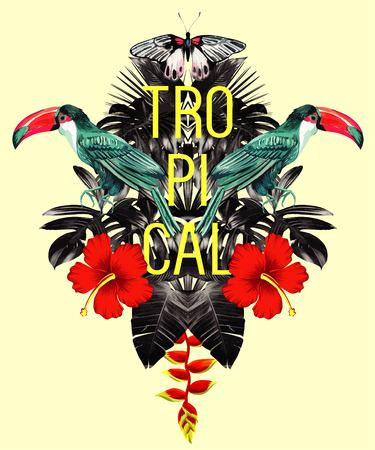 Exotic tropical toucan bird in the jungle, palm banana leaves, hibiscus flower and butterfly. Illustrator paradise trendy. Nature Hawaiian floral summer background wallpaper mirror effect Vettoriali