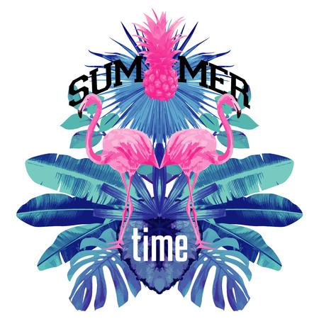 블루 팜 리프와 문자 여름 시간 열 대 식물 파인애플과 꽃 파티 포스터 핑크 플라밍고 거울 그림 인쇄상의 배경