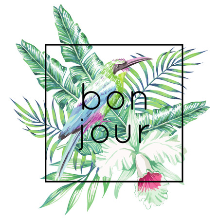 bonjour: Tropic exotic bird on a background of palm banana leaves and white flower orchid, hand drawn. Trendy slogan in French bonjour framed in black. Print fashion floral style wallpaper Illustration