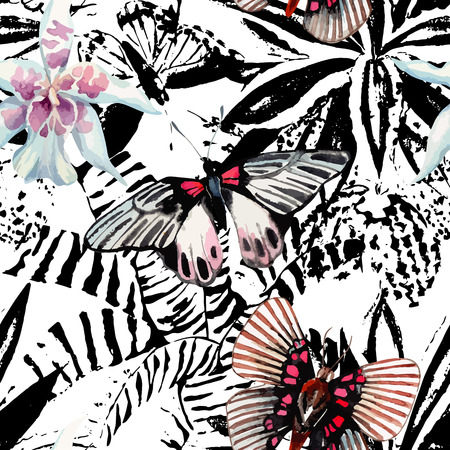 Hand drawn watercolor exotic butterfly, tropic orchid flower on a black and white background of plant leaf. Trendy floral with animal graphic seamless pattern wallpaper
