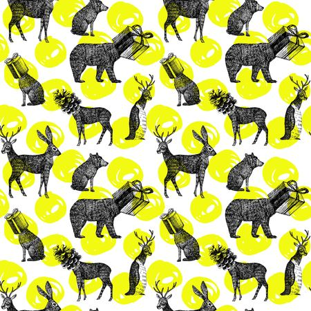 black and white cone: Christmas illustration hand drawn in black ink. Xmas seamless pattern with winter animal deer, hare, bear, penguin with head as gift and cone. Fashion exotic wallpaper poster on a white background