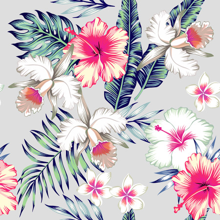 Tropic exotic hibiscus flowers, orchid, plumeria. In trendy blue background with green leaves of a banana palm tree. Floral seamless pattern. Hand drawn fashion print exclusive summer plant