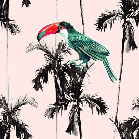 Tropic summer floral seamless pattern with black and white banana palm trees and exotic trendy paradise watercolor bird toucan. Vectores