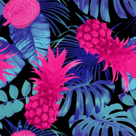 Tropic nature fruit floral seamless pattern. Summer exotic background with leaf banana palm, flowers and pineapple.