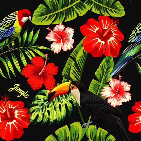 Tropic bird toucan and multicolor parrot on the background of palm banana leaf, red and white exotic hibiscus flowers with slogan jungle. Print summer floral plant wallpaper. Seamless vector pattern