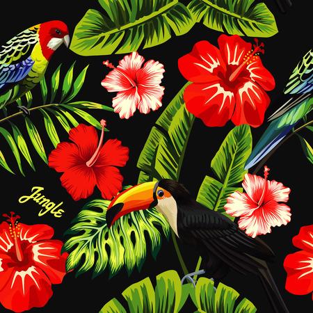 트로픽 조류 큰 부리 새와 손바닥 바나나 잎, 슬로건 정글 빨간색과 흰색 이국적인 히 비 스커 스 꽃의 배경에 여러 가지 빛깔의 앵무새. 여름 꽃 식물 벽지를 인쇄하십시오. 원활한 벡터 패턴