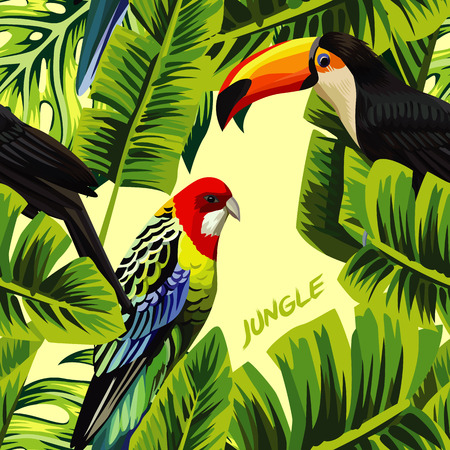Tropic bird toucan and multicolor parrot on the yellow background of palm banana leaf with slogan jungle. Print summer floral plant. Nature animals wallpaper. Seamless vector pattern