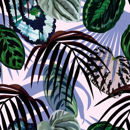 Exotische hand getrokken tropische monsterabladeren, palm en begonia's op de manier lichtrose achtergrond. Print zomerbloemenplant. Natuur trendy behang. Naadloos vectorpatroon