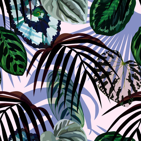 Exotic hand drawn tropic monstera leaves, palm and begonias in the fashion light pink background. Print summer floral plant. Nature trendy wallpaper. Seamless vector pattern