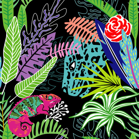 Exotic animals leopard and chameleon in the exclusive tropic jungle hand drawn cartoon style. Print summer floral plant. Nature trendy wallpaper. Seamless vector pattern Illustration