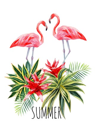 Exotic tropic bird pink flamingo with palm leaves and plant flower agave hand drawn watercolor. Print trendy flower vector illustration poster with the slogan summer Ilustração