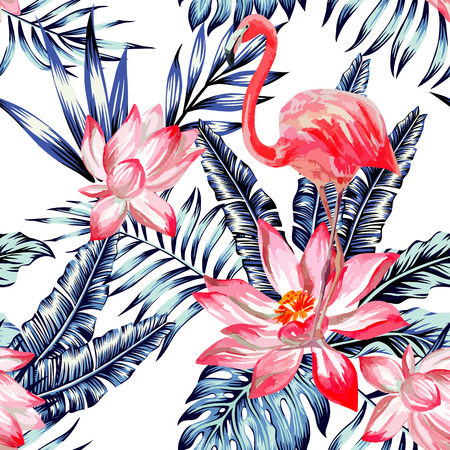 Watercolor pink flamingo and flower lotus on floral nature background. Trendy blue exotic tropic plant banana palm leaf, print wallpaper seamless vector pattern Illustration
