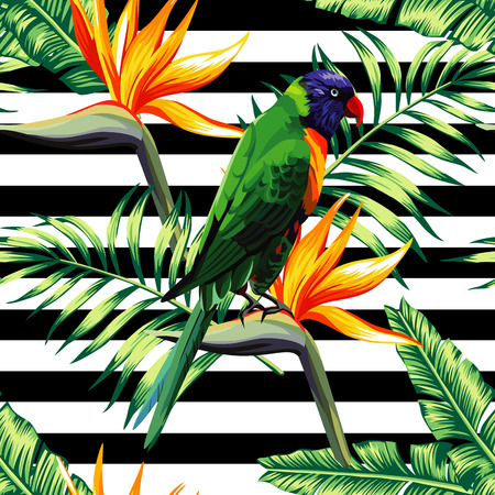 Bird in the painting parrot sits on a flower of paradise Strelitzia in floral tropic jungle with banana palm leaf wallpaper. On the geometric black and white stripe background. Seamless vector pattern Banco de Imagens - 66400185