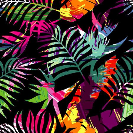 エキゾチックな楽園植物シームレス パターン。アート ジャングルの花、葉、熱帯のヤシの木。トレンディな多色シルエット絵生意気な花夏のベクト