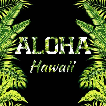 Mirrored trendy style illustration of tropic exotic plant palm banana leaves with a flower slogan Aloha Hawaii, seamless vector pattern on a black background Ilustração