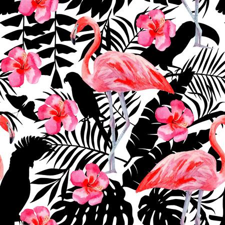 Het silhouet van tropische exotische dieren vogels papegaai in de jungle fabriek behang. Naadloze bloemen vector patroon uit de samenstelling van de trendy roze flamingo en hibiscus bloem hand getekende aquarel kunst