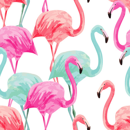 Composition of the trendy summer nature bird red, pink, blue flamingos. Hand drawn watercolor.  イラスト・ベクター素材