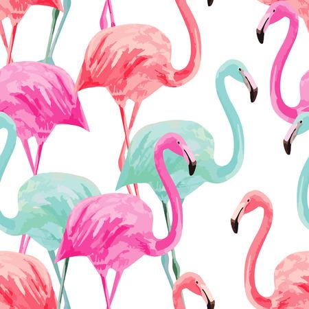 Composición del pájaro de la naturaleza de verano de moda rojo, rosa, flamingos azul. Acuarela dibujada mano.