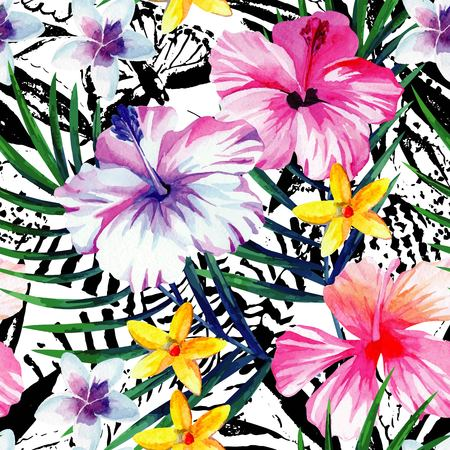 Exclusive fresh flowers tropic hibiscus, plumeria, and banana palm leaves hand drawn watercolor. 向量圖像