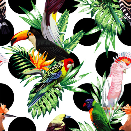 Exotic birds with tropical plants on a white background with black circle Illustration