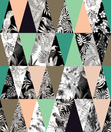 Patchwork tropicale illustrati floreali foglie di banano tropicali alla moda, fiori di ibisco, gigli, Frangipani, uccello pappagallo. Archivio Fotografico - 66128407