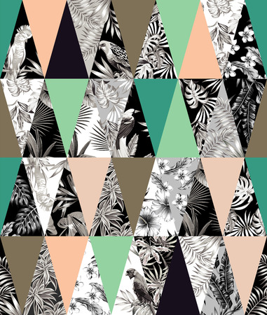Trendy tropical patchwork illustrated floral tropical banana leaves, hibiscus flower, lilies, plumeria, bird parrot. Illustration