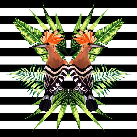 Abstracte patroon illustratie tropische dieren hop vogel in een trendy spiegel stijl op gestreepte zwarte en witte achtergrond met een florale zomer jungle banaan palmbladeren en planten