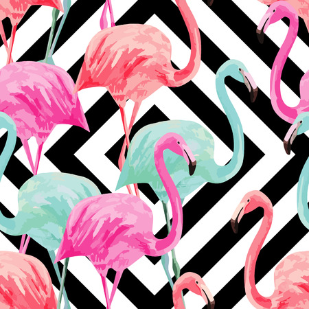 Composition of the trendy summer nature bird red, pink, blue flamingo.