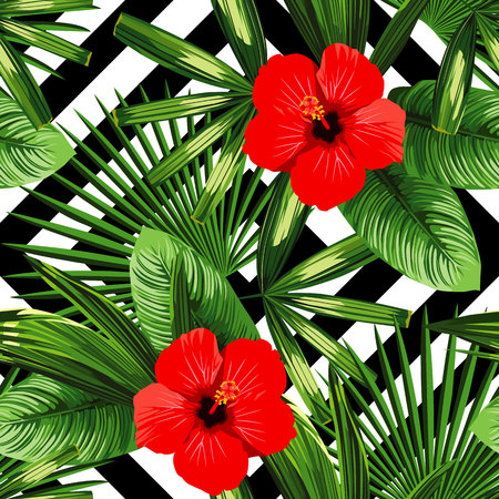 Print summer exotic jungle plant tropical palm leaves and flower red hibiscus
